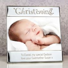 Personalised Silver Christening Square 6x4 Photo Frame         P0102C40
